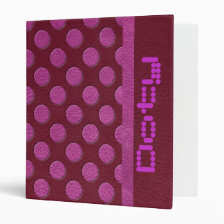 Pink Polka Dots on Red Wine Leather print Binder