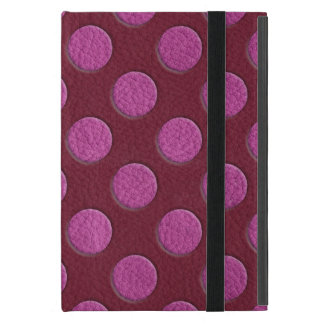 Pink Polka Dots on Red Wine Leather print Case For iPad Mini