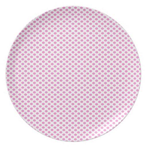 Pink Polka Dots on White Dinner Plates
