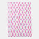 Pink Polka Dots on White Towels