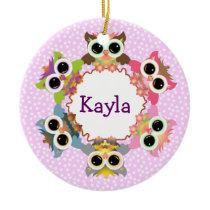 Pink Polka Dots Owl Wreath Ceramic Ornament