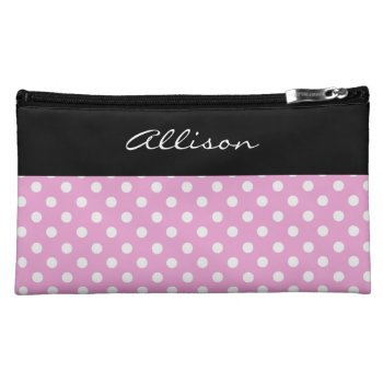 Pink Polka Dots Pattern Custom Gift Item V004 Makeup Bag
