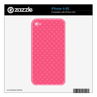 Pink polka dots pattern decals for the iPhone 4