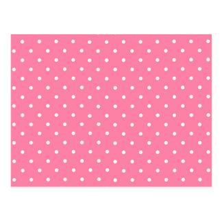 Pink Polka Dots Pattern Design Texture Postcard