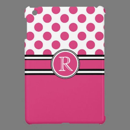 Pink Polka Dots Personalized Girly Girl iPad Mini Cases