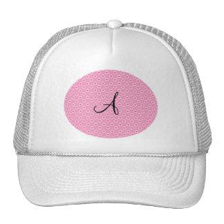 Pink polka dots pink hearts monogram trucker hat