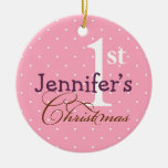 Pink  polka dots purple name baby first holiday Double-Sided ceramic round christmas ornament
