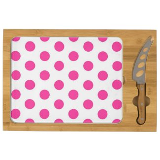 Pink Polka Dots Rectangular Cheese Board