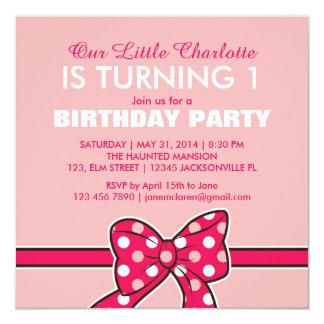 Pink Polka Dots Ribbon Birthday Invitation for Kid