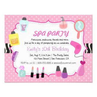 Pink Polka Dots Spa Birthday Party Invitation Custom Invite