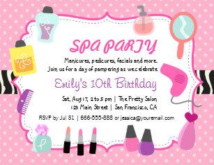 Girls Spa Party Invitations Zazzle