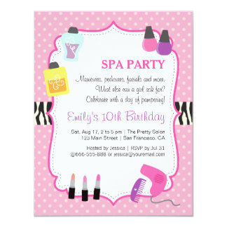 pink polka dots spa birthday party invitation - Pamper Party Invitations