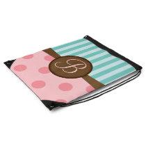 Pink polka dots teal stripes | monogram | custom drawstring backpack