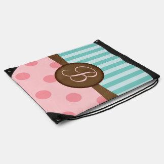 Pink polka dots teal stripes   monogram   custom drawstring backpack