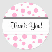 Pink Polka Dots Thank You Classic Round Sticker