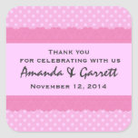 Pink Polka Dots Thank You Double Lace Wedding V01 Square Sticker