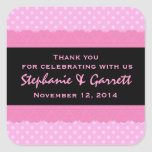 Pink Polka Dots Thank You Double Lace Wedding V04 Sticker