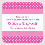 Pink Polka Dots Thank You Double Lace Wedding V24 Stickers