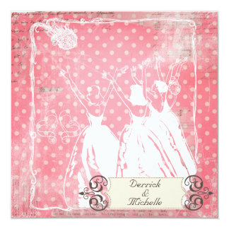 Pink Polka Dots Toss the Bouquet Wedding Invite