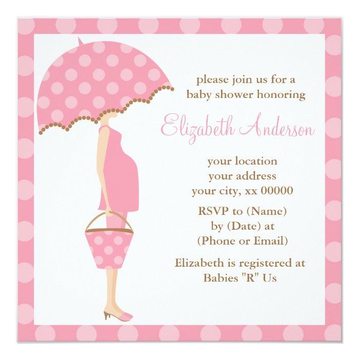 Pink Polka Dots Umbrella Mom Baby Shower Card