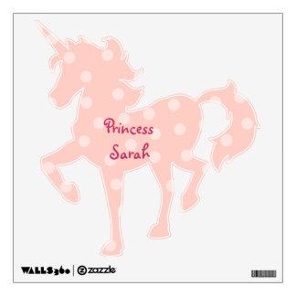Pink Polka Dots Unicorn Wall Sticker