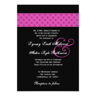 Pink Polka Dots Wedding Monogram Card