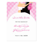 Pink Polka Dots Wedding Save the Date Postcards