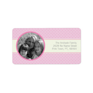 Pink Polka Dots White Stripe Custom Photo Template Labels