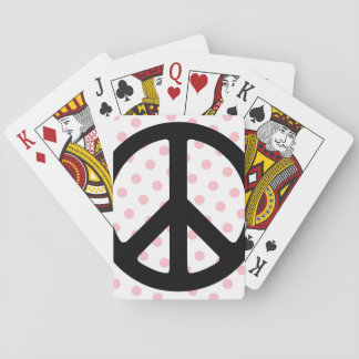 Pink Polka Dots with Black Peace Symbol Playing Cards