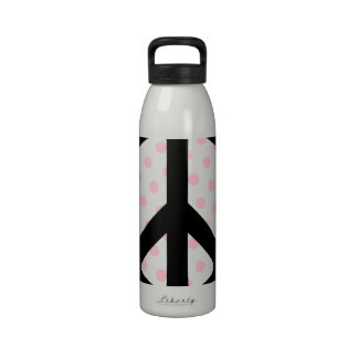 Pink Polka Dots with Black Peace Symbol Water Bottles