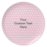 Pink Polka Dots, with Custom Black Text. Party Plate