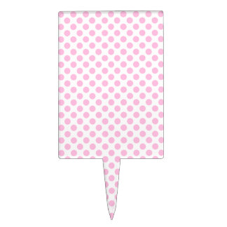 Pink Polka Dots with Customizable Background Cake Topper