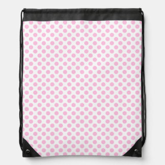 Pink Polka Dots with Customizable Background Drawstring Bag