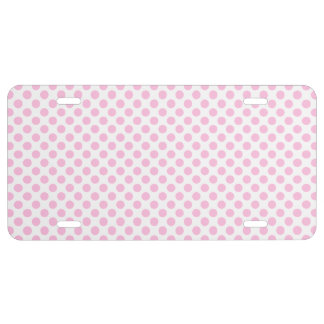 Pink Polka Dots with Customizable Background License Plate