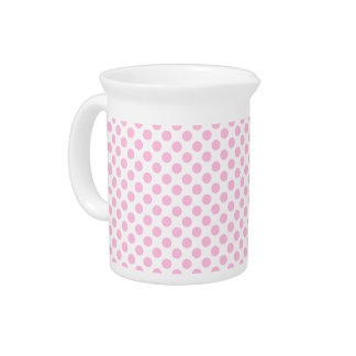 Pink Polka Dots with Customizable Background Pitcher