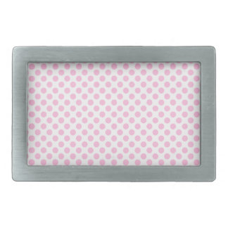 Pink Polka Dots with Customizable Background Rectangular Belt Buckle