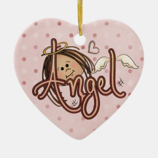 Pink Polka Dotted Angel Heart Ornament