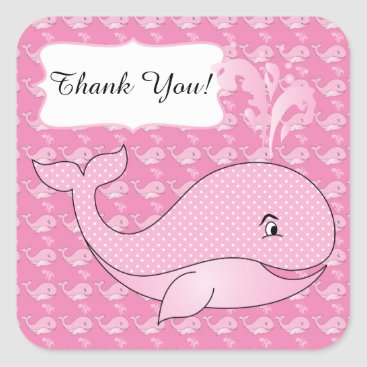 Beach Themed Pink Polka Dotted Baby Whale | DIY Text Square Sticker