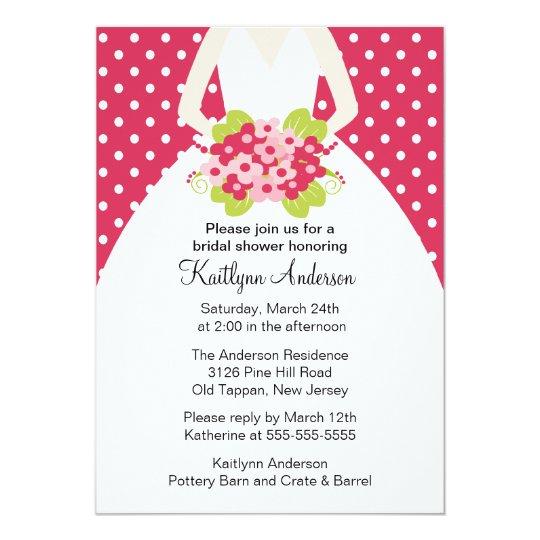 Pink Polka Dotted Bride Bridal Shower Invitation