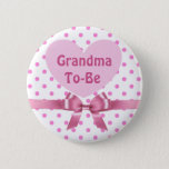 "Pink Polka Dotted Grandma to be Baby Shower Button<br><div class=""desc"">Pink Polka Dotted Grandma to be Baby Shower Button</div>"