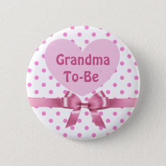 Pink Polka Dotted Grandma to be Baby Shower Button