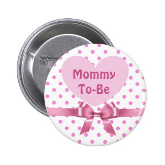 Pink Polka Dotted Mommy to be Baby Shower Button