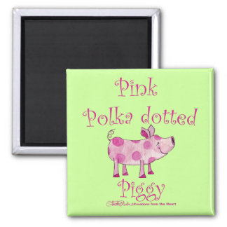Pink Polka Dotted Piggy Magnet
