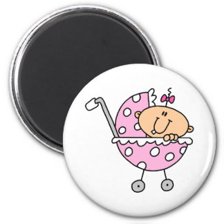 Pink Polka Dotted Stick Baby Girl 2 Inch Round Magnet