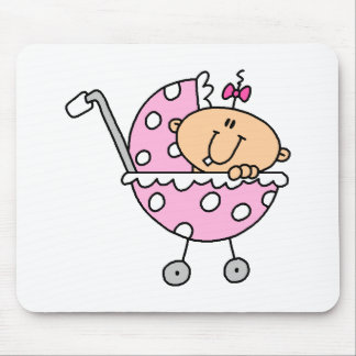 Pink Polka Dotted Stick Baby Girl Mouse Pad