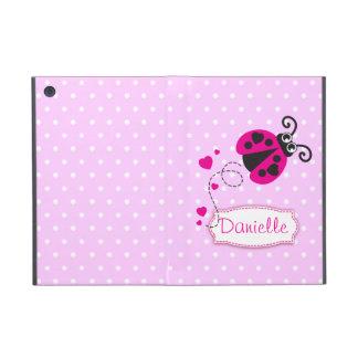 Pink polka flowers ladybug name ipad powis case covers for iPad mini
