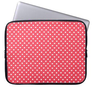 Pink Polka hearts Laptop Computer Sleeve