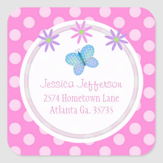 Pink Polkadot Daisies & Butterfly Address Stickers