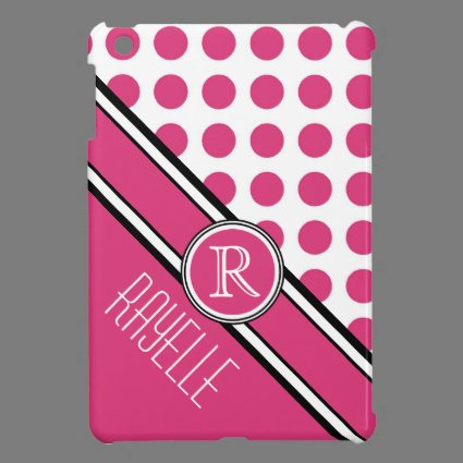 Pink Polkadot Diagonal Monogram and Name iPad Mini Case