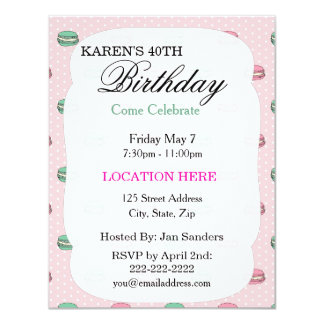 "Pink Polkadot Macaron Birthday Party Invitations 4.25"" X 5.5"" Invitation Card"